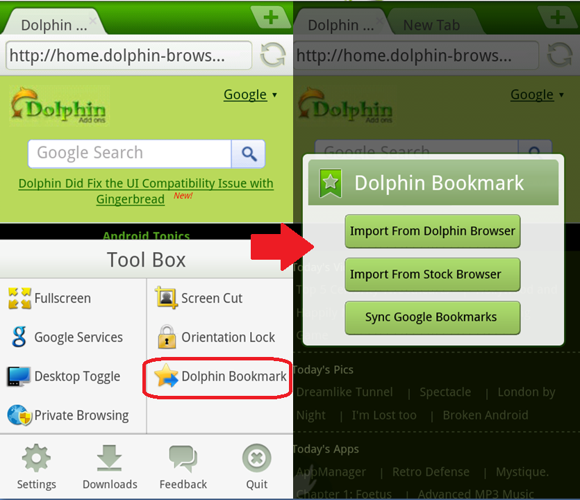 Dolphin Browser Mini Preview2 For Android, Faster Than Ever