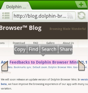 Copy/Select Text Updated in Dolphin Browser Mini V1 1, Now